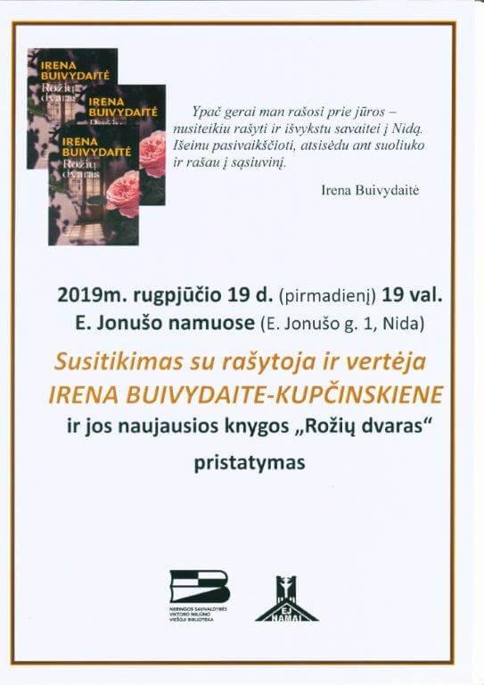 Susitikimas su rašytoja ir vertėja Irena Buivydaite-Kupčinskiene