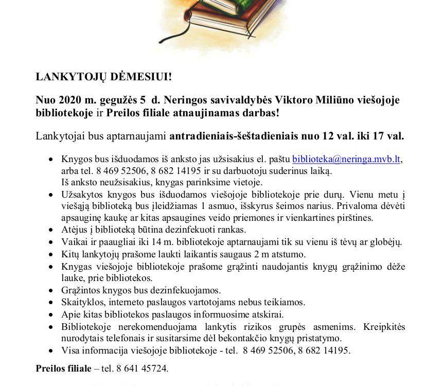 Biblioteka atnaujina darbą
